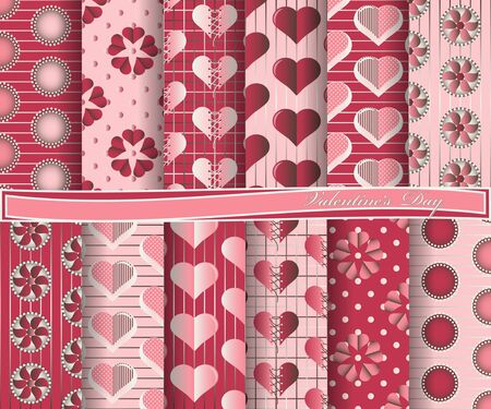 paper forms: set of scrapbook paper for Valentines Day. Decorative flowers, heart, abstract forms Illustration
