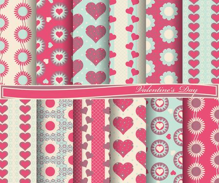 paper forms: Vector set of scrapbook paper for Valentines Day. Decorative flowers, heart, abstract forms