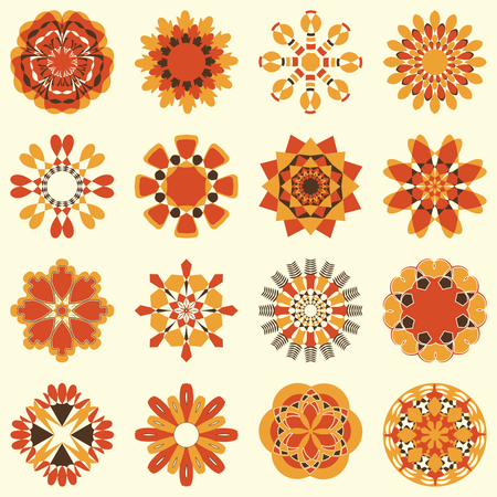 Vector set of abstract circular patterns, decorative flowers