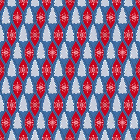Repetitive Christmas pattern background with Christmas Trees and snowflakes