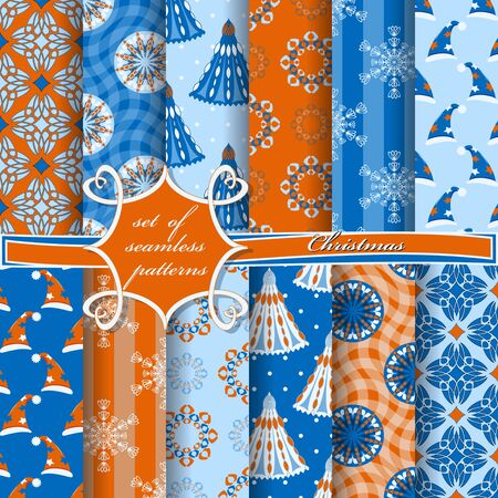 Set of seamless christmas illustrations. Abstract vector paper with Christmas symbols and design elements for scrapbook