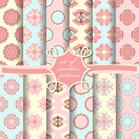 set of seamless abstract vector paper with decorative shapes and design elements for scrapbook