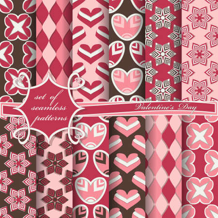 Set of seamless vector illustrations of Valentines Day. Heart, abstract shapes, decorative flowers, design elements for scrapbook Illustration