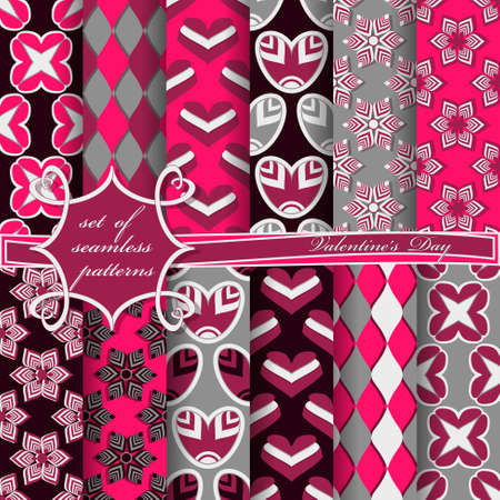Set of seamless pattern illustrations for Valentines Day.