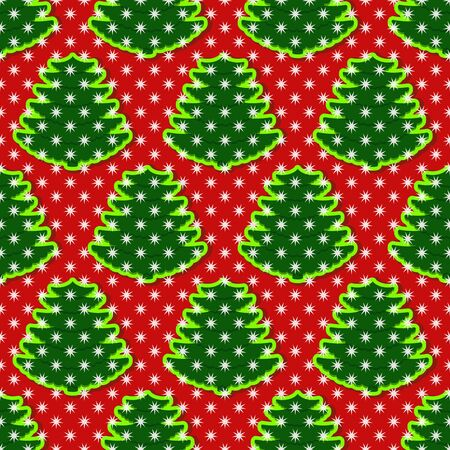 Seamless pattern vector illustration background with symbols abstract christmas trees and snowflakes