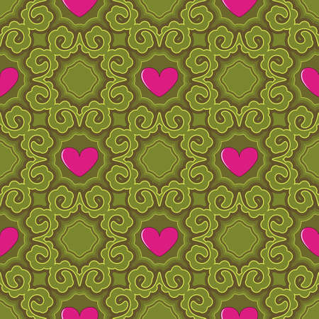 Seamless vector illustration of Valentines Day background. Decorative pattern, heart