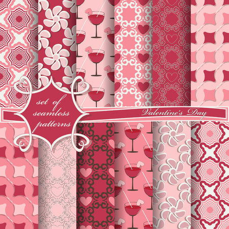 Set of patter for Valentines Day. with heart abstract design.