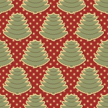 Seamless vector Christmas illustration background with Christmas symbols. Abstract christmas trees, snowflakes
