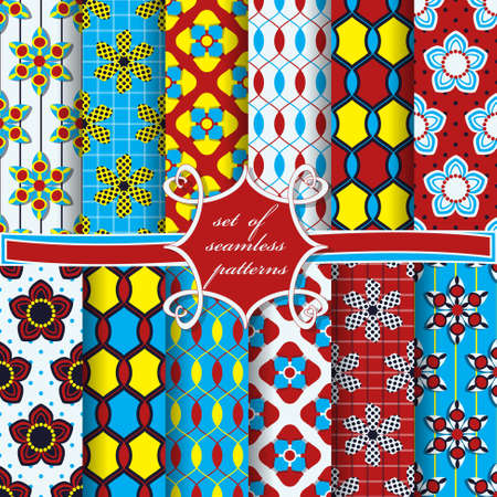 Abstract shapes and decorative flowers cover pattern design.
