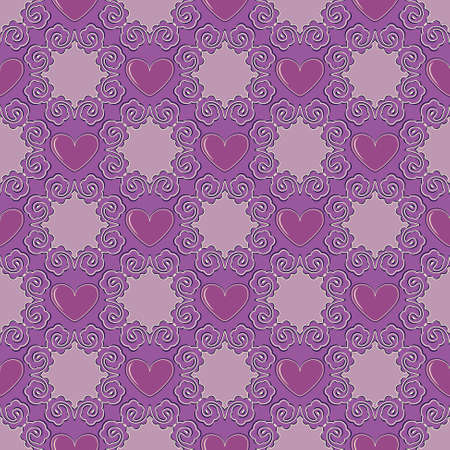 Seamless vector illustration of Valentines Day background. Decorative pattern with hearts Illustration