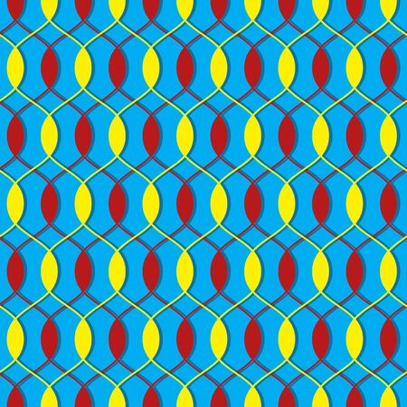 Seamless vector pattern background of multicolored wavy lines and ovals. Design elements for Scrapbook. Can be used for wallpapers, picture fills, background, surface  Illustration