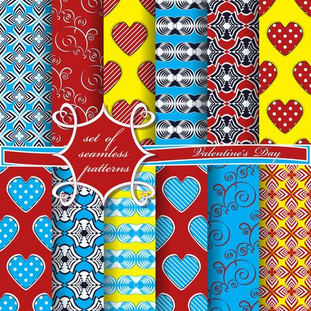 Set of seamless vector illustrations of Valentines Day. Heart, abstract shapes, decorative flowers, design elements for scrapbook.