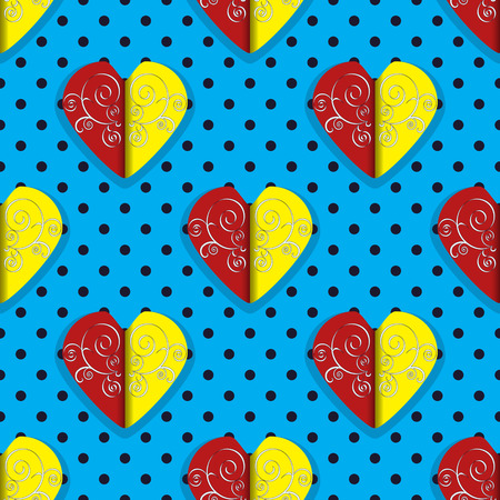 Vector illustration of Valentines Day background. Abstract decorative hearts Illustration