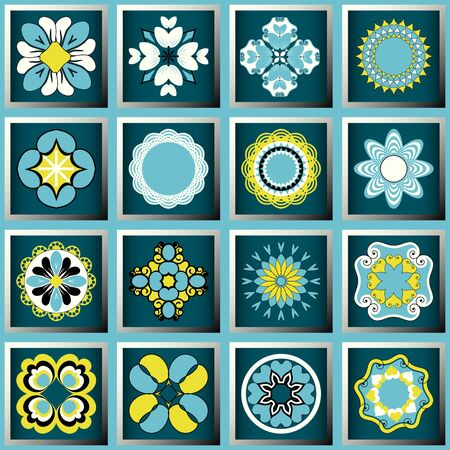 Set of vector design elements. Decorative flowers, abstract icons