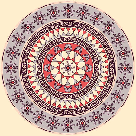 Vector circular pattern mandala of abstract geometric shapes decorative flowers. Foto de archivo - 98368683