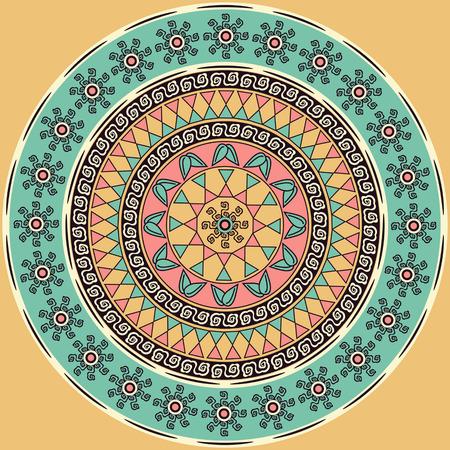 vector circular pattern mandala of abstract geometric shapes decorative flowers Foto de archivo - 98539372