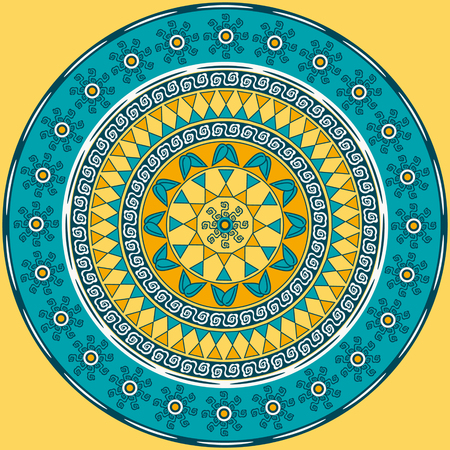 vector circular pattern mandala of abstract geometric shapes decorative flowers Foto de archivo - 98876412