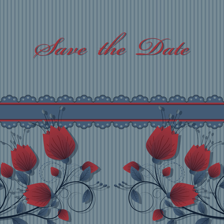 vector flower card, save the date template