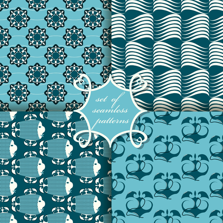 set of seamless vector paper with symbols of the sea Vettoriali