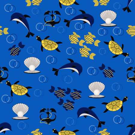 seamless sea vector background with sea animals