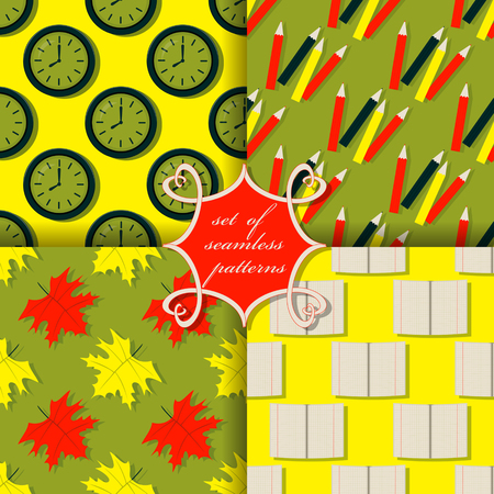Set of seamless vector backgrounds with school subjects Illustration