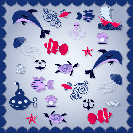 Abstract vector illustration background with marine life