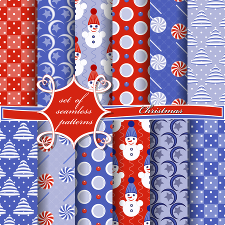 Set of seamless Christmas illustrations. Abstract vector paper with Christmas symbols and elements of Christmas design 向量圖像
