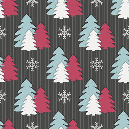 Seamless christmas vector illustration background. Christmas tree, snowflakes