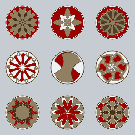 Set of nine circular patterns. Vector illustration Çizim