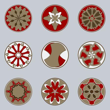 Set of nine circular patterns. Vector illustration Illustration