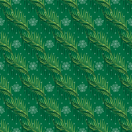 Seamless vector pattern. Fir branches, snowflakes