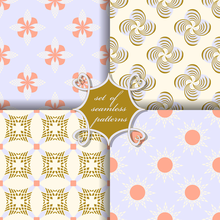Vector set of four seamless patterns.Decorative striped flowers, shape. Can be used for wallpapers, fill images, web page, background, surface