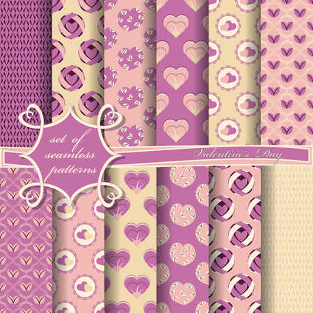 Conjunto de ilustraciones vectoriales sin fisuras del día de San Valentín. Corazón, formas abstractas, elementos de diseño para scrapbook Ilustración de vector