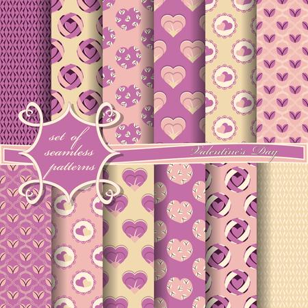 Satz nahtlose Vektorillustrationen des Valentinstags. Herz, abstrakte Formen, Designelemente für Scrapbook Vektorgrafik