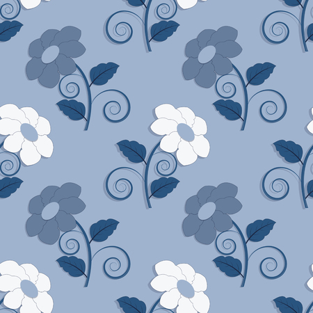 seamless vector illustration background with decorative flowers