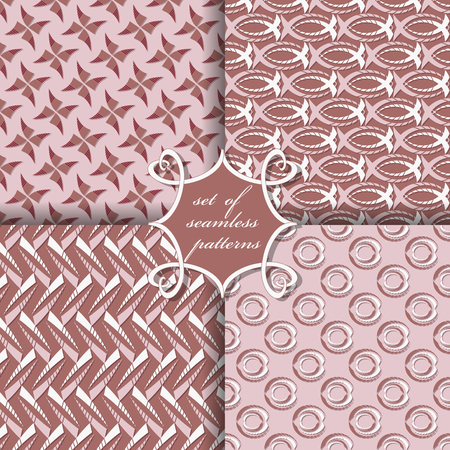 set of seamless abstract vector paper with decorative flowers, shapes and design elements for decoration