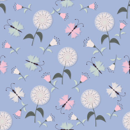 seamless vector illustration background with decorative flowers and butterflies Illustration