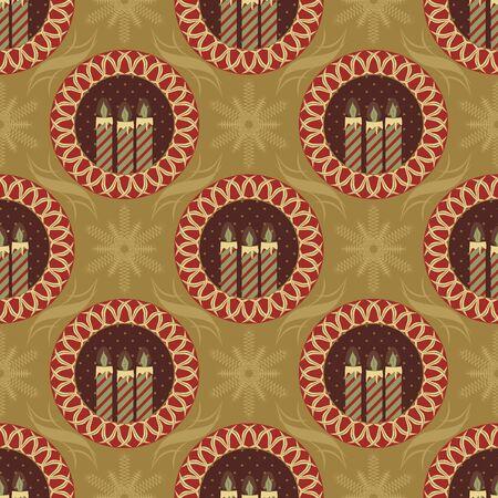 Seamlessly abstract vector illustration. Decorative tree, Christmas symbols