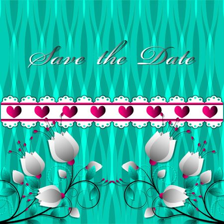 Valentines day or wedding cards. Lettering Save the date, flowers, hearts on abstract background