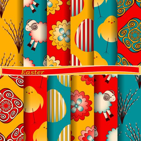 set of abstract vector paper with decorative flowers, figures and symbols of the holy Easter day