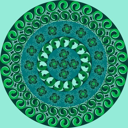 Vector illustration. Circular pattern of abstract shapes decorative flowers