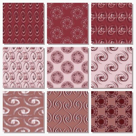 Set of seamless vector paper with abstract curls, decorative flowers and design elements for decoration