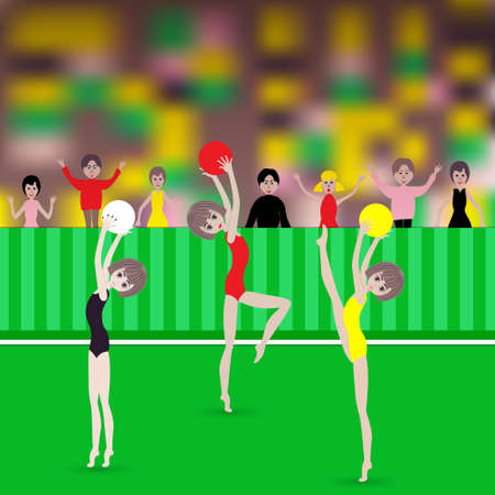 Gymnastic exercises with the ball. Vector illustration