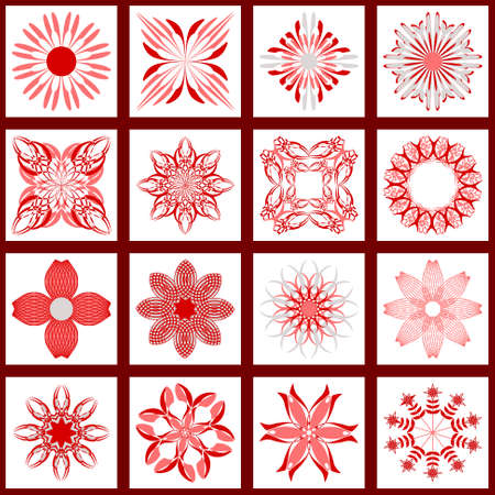 set of abstract vector paper with geometric shapes, decorative flowers and design elements for decoration