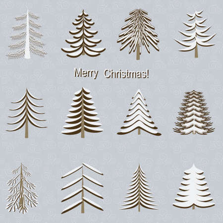 Vector set of decorative Christmas tree. New Year pattern. Vector background illustration