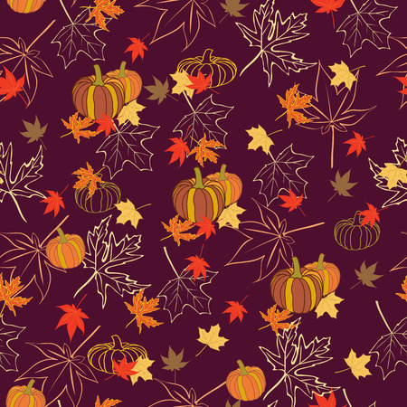 Vector Autumn Pumpkins with Maple Leaves  repeat pattern. Great for wallpaper, packaging, backgrounds, invitations
