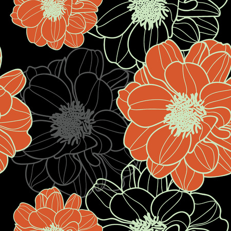 vector floral autumn repeat pattern. Great for wallpaper, packaging, backgrounds, invitations