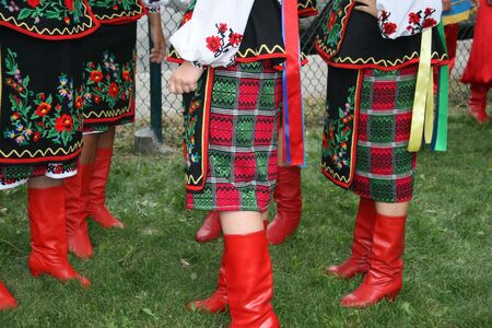 Ethnic skirts and Red boots