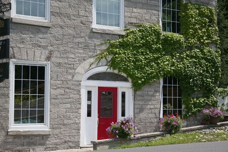 Modernized stone building with growing ivy  photo
