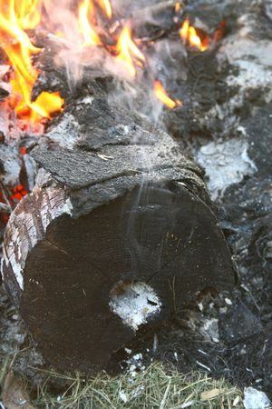 Smoke comes out of the hole of a burning log